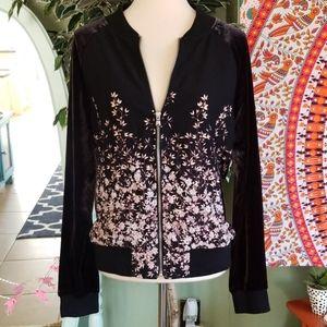 A New Day Velvet Sleeve Floral Pattern Zip Jacket